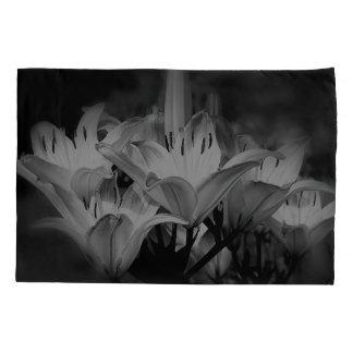Housse D'oreillers Fleurs de lis en noir et blanc