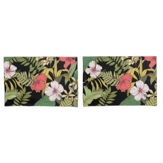 Housse D'oreillers Floral tropical sur le noir