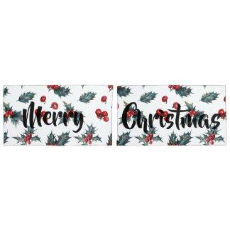 Housse D'oreillers Houx et baies de Noël avec le Joyeux Noël