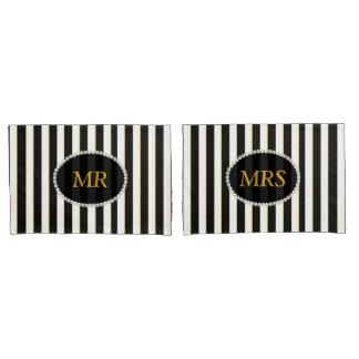 Housse D'oreillers M. et MME monogramme rayé noir élégant de perle