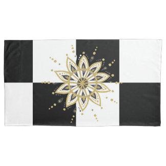Housse D'oreillers Mandala noir et blanc d'or moderne