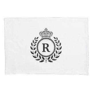 Housse D'oreillers Monogramme blanc noir | de couronne de guirlande