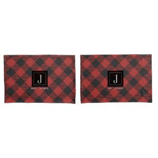Housse D'oreillers Monogramme de plaid de Buffalo rouge et noir