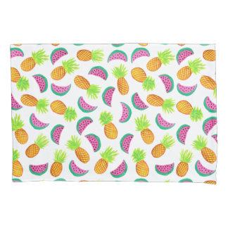Housse D'oreillers motif coloré de pastèque d'ananas d'aquarelle