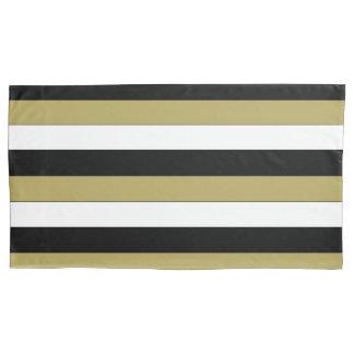 Housse D'oreillers Motif noir élégant de rayures de Brown d'or blanc