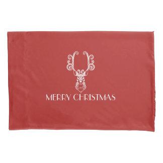 Housse D'oreillers Renne de Noël rouge et blanc de JOYEUX NOËL
