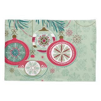 Housse D'oreillers Rétros ornements bleus et rouges de Noël