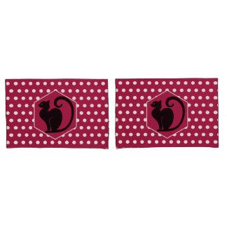 Housse D'oreillers Silhouette de chat noir sur le motif de points