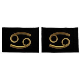 Housse D'oreillers Symbole d'or de noir de Cancer de signe de