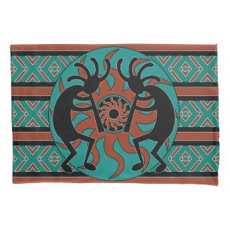 Housse D'oreillers Turquoise de conception de sud-ouest de Kokopelli