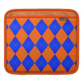 Housse iPad Douille orange et bleue à motifs de losanges