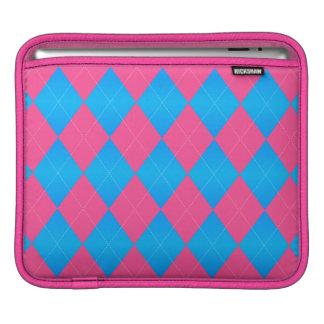 Housse iPad Douille Rose-Bleue en pastel à motifs de losanges