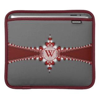 Housse iPad Douille rouge argentée de comprimé d'iPad de