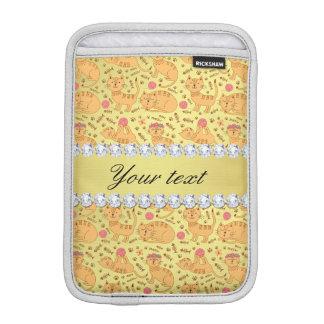 Housse iPad Mini Diamants mignons de Bling de feuille d'or de Faux