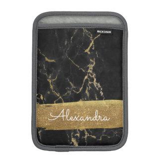 Housse iPad Mini Noir et marbre d'or avec la feuille d'or et les