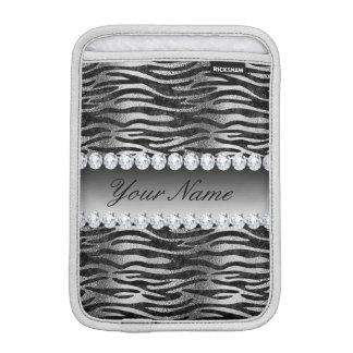 Housse iPad Mini Rayures noires de zèbre d'aluminium de Faux sur