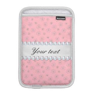 Housse iPad Mini Rose argenté chic de flocons de neige de