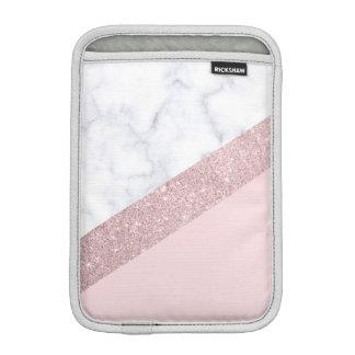 Housse iPad Mini rose de marbre blanc de parties scintillantes