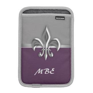 Housse iPad Mini Silver Fleur de Lis pourpre