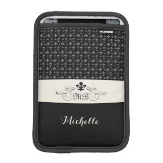 Housse iPad Mini White Fleur de Lis noir élégant