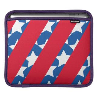 Housse iPad Rayures rouges avec la douille bleue de Macbook de