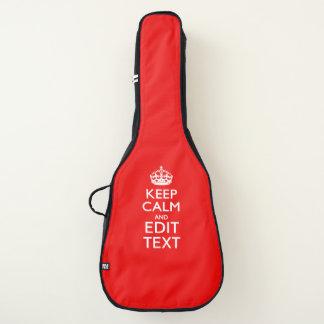 Housse Pour Guitare Gardez le calme et votre texte sur le rouge du feu