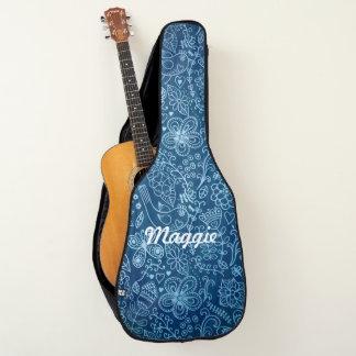 Housse Pour Guitare Griffonnages d'amusement sur le denim