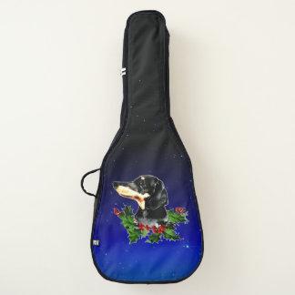 Housse Pour Guitare Guirlande de houx de teckel de Noël