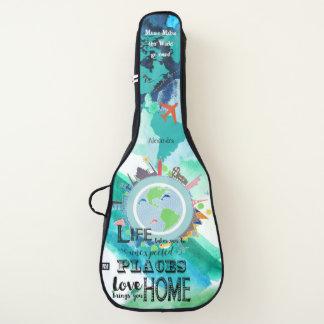 Housse Pour Guitare Voyageur à la mode du monde d'aquarelle d'abrégé