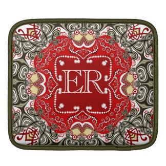 Housse Pour iPad Douille orientale rouge d'iPad de monogramme d'art