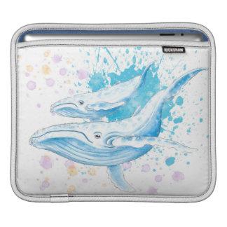 Housse Pour iPad Éclaboussure de couleur de baleines bleues