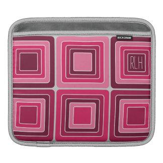 Housse Pour iPad Grands carrés roses et douille rouge d'iPad de