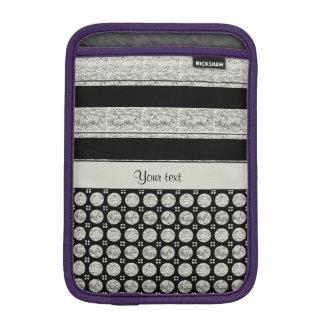 Housse Pour iPad Mini Rayures et taches argentées et noires de