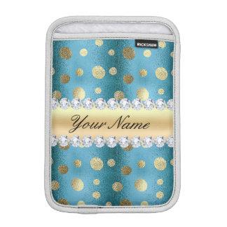 Housse Pour iPad Mini Taches de feuille d'or de Faux sur le bleu