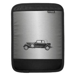 Housse Pour iPad Noir argenté de vieille voiture chique masculine