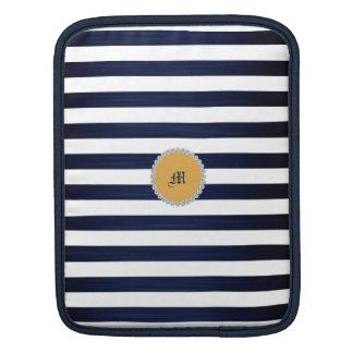 Housse Pour iPad rayures nautiques de marin de blanc et de bleu