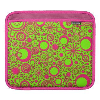 Housse Pour iPad Ronds, douille Rose-Verte d'iPad horizontale