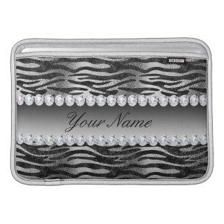 Housse Pour Macbook Air Rayures noires de zèbre d'aluminium de Faux sur