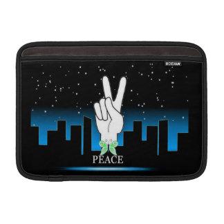 Housse Pour Macbook Air Symbole de paix avec un arrière - plan de ville