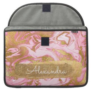Housse Pour Macbook Marbre rose et blanc avec la feuille d'or et les