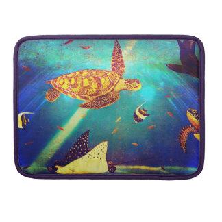 Housse Pour Macbook Peinture colorée de tortue de mer d'océan bleu