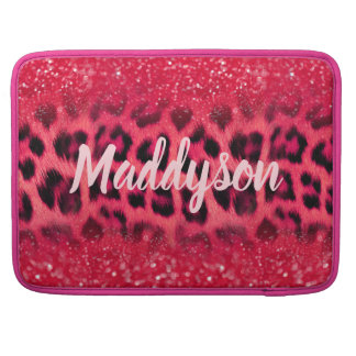 Housse Pour Macbook Taches de léopard de parties scintillantes de rose