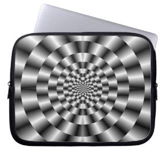 Housse Pour Ordinateur Portable Anneaux concentriques dans la douille monochrome