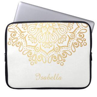 Housse Pour Ordinateur Portable Blanc complexe de mandala de dentelle d'or d'or de