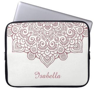Housse Pour Ordinateur Portable Blanc complexe de mandala de dentelle d'or rose