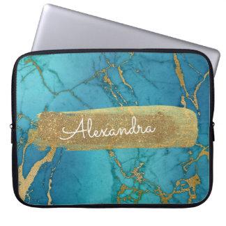 Housse Pour Ordinateur Portable Bleu et de marbre avec la feuille d'or et les