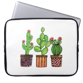 Housse Pour Ordinateur Portable Cactus mignon d'aquarelle dans des pots