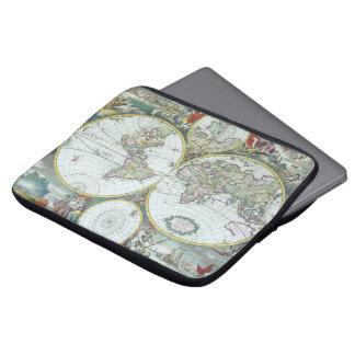 Housse Pour Ordinateur Portable Carte antique du 17ème siècle du monde, Frederick