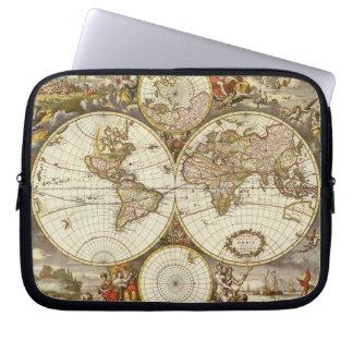 Housse Pour Ordinateur Portable Carte antique du monde, C. 1680. Par Frederick de