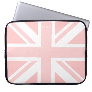 Housse Pour Ordinateur Portable Douille BRITANNIQUE rose décorée d'un monogramme